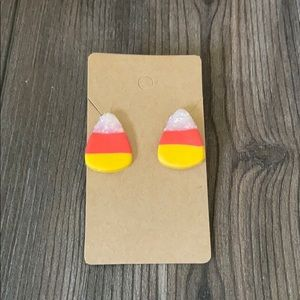 Clay candy corn earrings